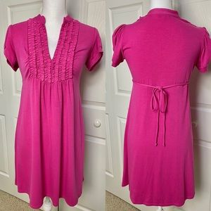 V-Neck Ruched Pink Sundress with cap sleeves